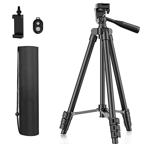 Phone Tripod, 51' Extendable Travel Lightweight Tripod Stand with Carrying Bag, Universal Tripod with Bluetooth Remote, Cell Phone Mount for Phone Xs/Xs Max/Xr/X/8/8 Plus/Samsung/Huawei Phone,Camera