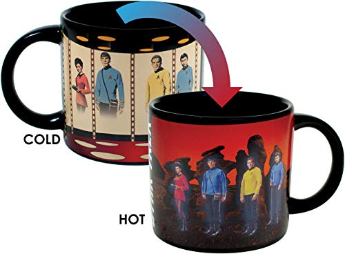 Star Trek Transporter Heat Changing Mug - Add Coffee or Tea and Kirk, Spock, McCoy and Uhura Appear on the Planet's Surface - Comes in a Fun Box