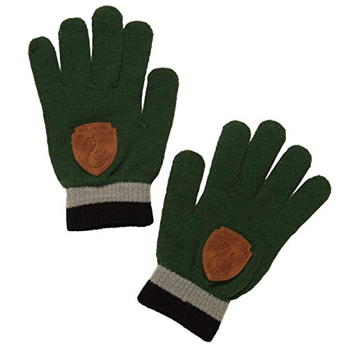 Harry Potter Slytherin Gloves With Faux Leather House Crest