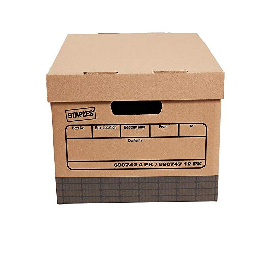 Staples 690747 Medium Duty 100% Recycled Storage Boxes Letter/Legal Size 12/Pack
