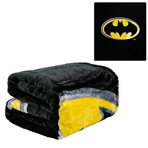 JPI Batman Emblem Super Soft Plush Blanket 100% Polyester Fiber 79' x 95', Black
