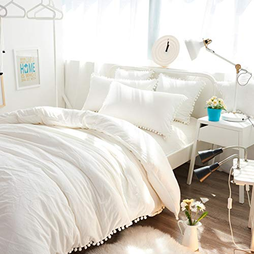 Bohemian Dorm Decor Off White Doona Duvet Cover, Queen Pom Pom Lace Comforter, Quilt Cover, Hippie Bedding Sheet, Boho Bedspread With 2 Pillows 2 Cushions Set (Twin Size 60x90 Inches)