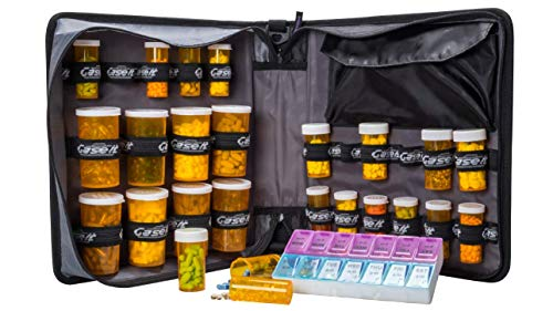 Med Manager XL by Case-It (Red), Insulated Medication Binder w/Strap and Portable Pill/Medicine Organizer, Holds (25) 30/60/90-Day Pill Bottles, Pill Organizer, 6-Pocket Folder, (13' x 13' x 4.5')