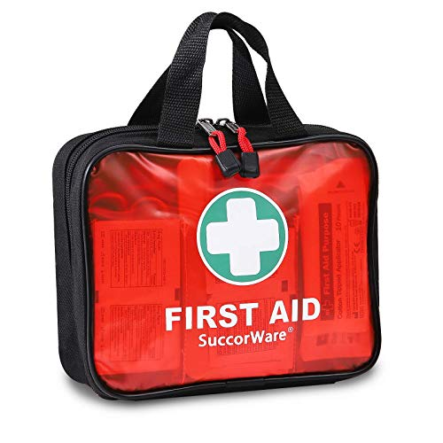 200 Pieces First Aid Kit with Hospital Grade Medical Supplies - Includes Emergency Blanket, Bandage, Scissors - Great for Home, Outdoors, Office, Car, Travel, Camping, Hiking, Boating (Red)
