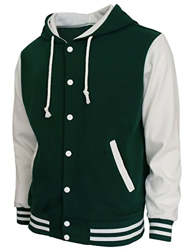 BCPOLO Hoodie Baseball Jacket Varsity Baseball Jacket Cotton Letterman Jacket Green-White-S