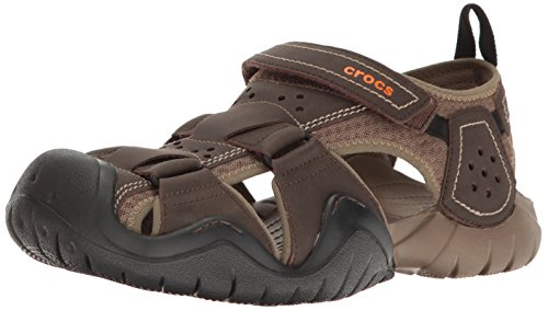 Crocs Men's Swiftwater Leather Fisherman Sandal, Espresso/Walnut, 13 M US