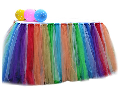 Fighting to Achieve 7 Colors Rainbow Table Skirts Tulle Tutu Table Cloth Cover for Party Decoration Home Decor(3931inch)