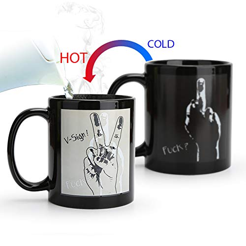 Magic Heat Changing Coffee Mug - Add Coffee or Tea and the cups will change color,Thermometer Sensitive Porcelain Tea Ceramic Coffee Funny Cup, 10 OZ