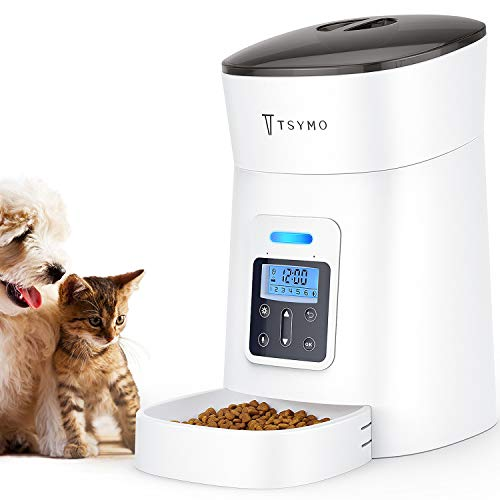TSYMO Automatic Cat Feeder - 1-6 Meals Auto Dog Food Dispenser with Anti-Clog Design, Timer Programmable, Voice Recording & Portion Control for Small & Medium Pets, 4 Liters