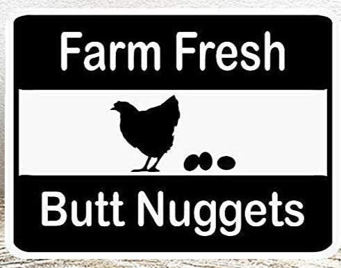 8''x12''Farm Fresh Butt Nuggets Chicken Egg Sale,Funny Tin Sign Vintage Funny Iron Painting Metal Plate