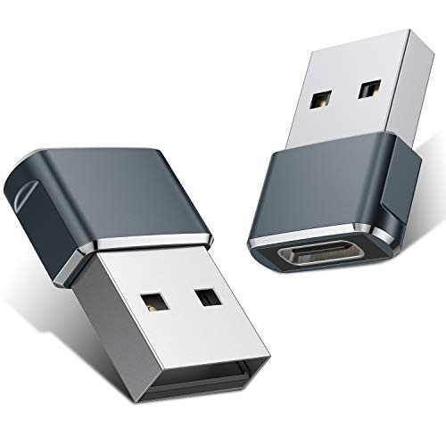 USB C Female to USB Male Adapter 2 Pack,Type C to A Charger Cable Adapter for iPhone 11 12 Mini Pro Max,Airpods iPad,Samsung Galaxy Note 10 S20 Plus 20 FE Ultra,Google Pixel 5 4 4a 3 3A 2 XL,S21 21