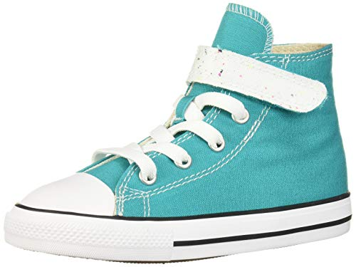 Converse Girls' Chuck Taylor All Star 1V Galaxy Dust Sneaker, Turbo Green/Natural Ivory, 10 M US Toddler