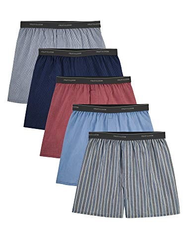 Fruit of the Loom mens Tag-free Boxer Shorts Underwear, Woven - Exposed Waistband, Assorted color pack, Large US