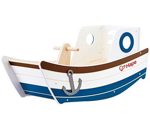 Award Winning Hape High Seas Wooden Toddler Rocking Ride On, L: 32, W: 12.5, H: 14.4 inch