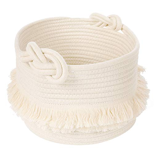 CherryNow Small Woven Storage Baskets Cotton Rope Decorative Hamper for Diaper, Blankets, Magazine and Keys, Cute Tassel Nursery Decor - Home Storage Container – 9.5'' x 7''