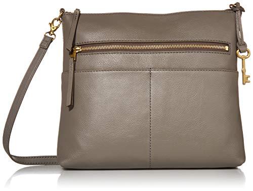 Fossil Women's Fiona Leather Large Crossbody Handbag, Grey