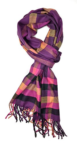 Plum Feathers Plaid Check and Solid Cashmere Feel Winter Scarf (Purple and Gold Plaid)
