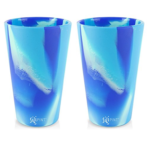 Silipint Silicone Pint Glass Set, Patented, Shatter-proof, Unbreakable Silicone Cup Drinkware (2-Pack, Arctic Sky)