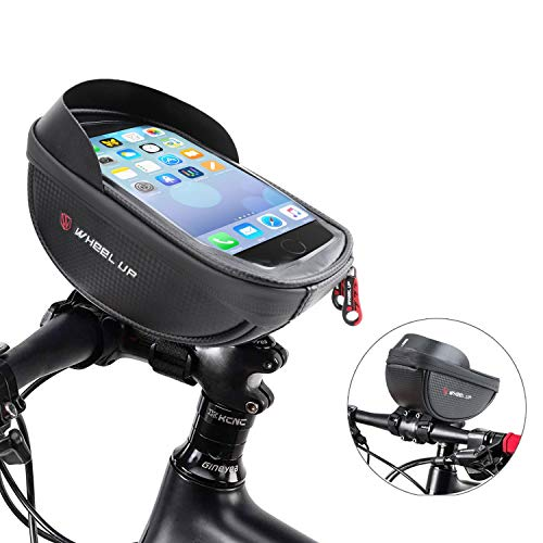 Bike Phone Front Frame Bag - Waterproof Bicycle Top Tube Cycling Phone Mount Pack with Touch Screen Sun Visor Large Capacity Phone Case for Cellphone Below 6.5'' iPhone 7 8 11 Pro Plus xs max (Round)