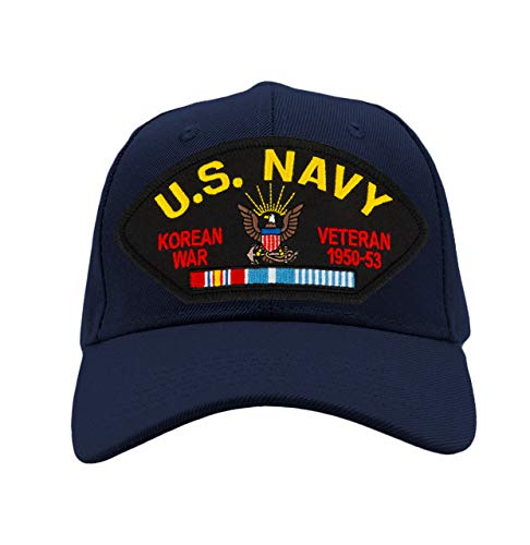 PATCHTOWN US Navy - Korean War Veteran Hat/Ballcap Adjustable One Size Fits Most (Multiple Colors & Styles) (Navy Blue, Add American Flag)