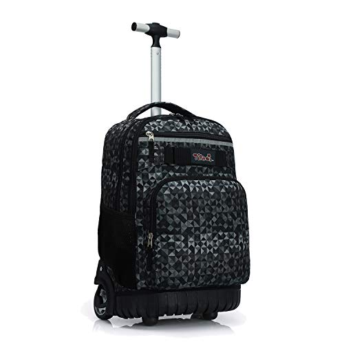 Tilami Rolling Backpack 18 inch Wheeled Laptop Backpack School College Student Travel Trip Boys and Girls, Grey