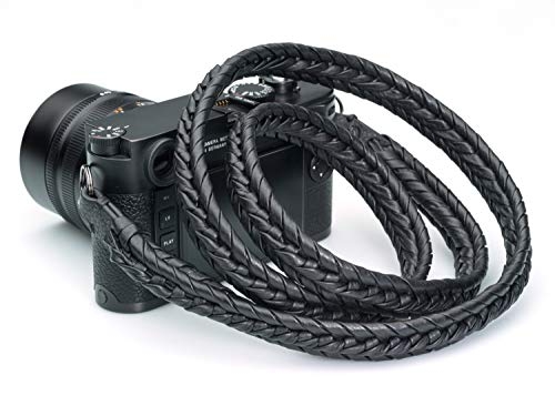 Vi Vante Ultime Blackout; Black on Black Braided Top Grain Leather Designer Camera Strap w/Electroplated Mounting Rings & Branded Carry Pouch