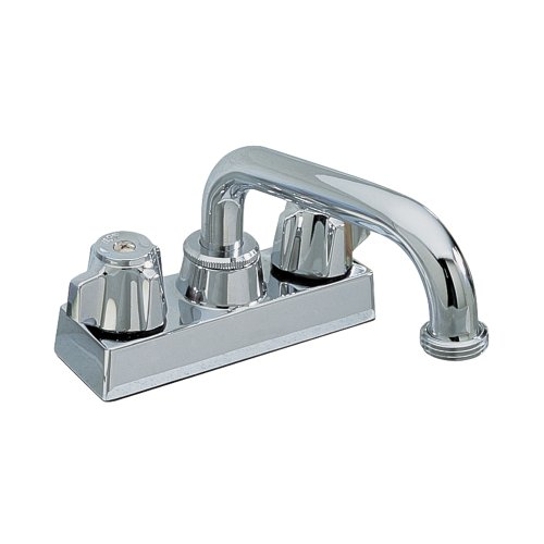 Aqualife Washlerless Laundry and Utility Room Sink Faucet, Two Handle Centerset Installation with Swivel Spout, Chrome