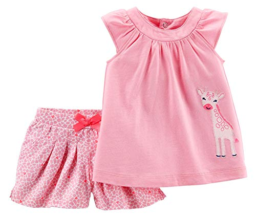 Carter's Child of Mine Giraffe Baby Girl 2 Piece Top and Shorts Outfit Set (0-3 Months) Pink