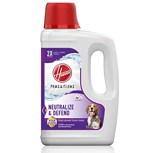 Hoover AH30925 Paws & Claws Deep Cleaning Carpet Shampoo with Stainguard, Concentrated Machine Cleaner Solution for Pets, 64oz Formula, White