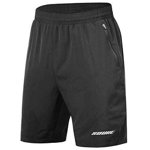 Souke Sports Men's Workout Running Shorts Quick Dry Athletic Performance Shorts Black Liner Zip Pockets(Black,Large)