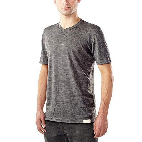 Woolly Clothing Men's Merino Wool V-Neck Tee Shirt - Ultralight - Wicking Breathable Anti-Odor M CHR Charcoal