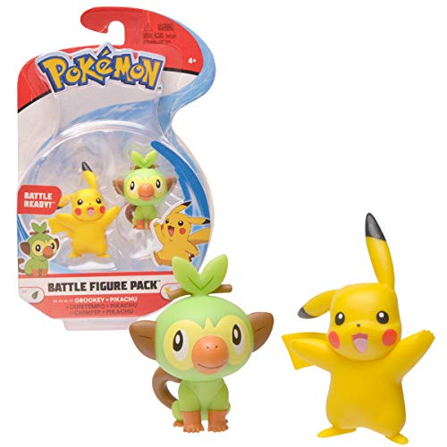 New Pokemon Sword and Shield Battle Action Figure 2 Pack - Pikachu and Grookey 2' Figures
