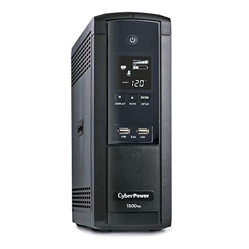 CyberPower BRG1500AVRLCD Intelligent LCD UPS System, 1500VA/900W, 12 Outlets, AVR, Mini-Tower, 5-Year Warranty,Black