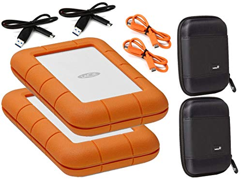 LaCie 2 Pack 5TB Rugged Mini USB 3.0 / USB-C External Hard Drives Compatible with Windows and Mac - Water and Drop Resistance with Compact Pocket Cases