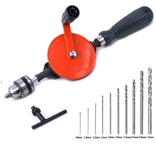 Frylr Hand Drill Speedy Powerful Manual Hand Crank Drill 3/8 inch(1.5MM-10MM) With S/S cast 3 Jaw Chucks, ABS Anti Slip Handle