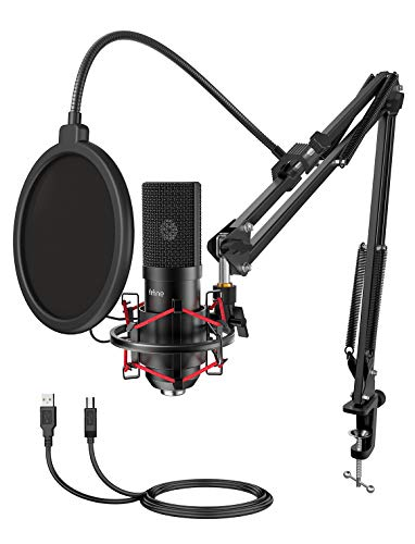 FIFINE USB Gaming Microphone Set with Flexible Boom Arm Stand Pop Filter, Plug and Play with PC Desktop Laptop Computer, Streaming Podcast Mic Kit for Home Studio (T732)