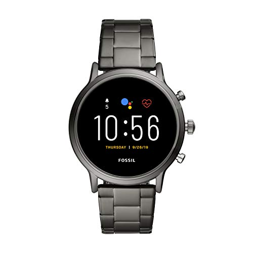 Fossil 44mm Gen 5 Carlyle Stainless Steel Touchscreen Smart Watch with Heart Rate, Color: Smoke (Model: FTW4024)