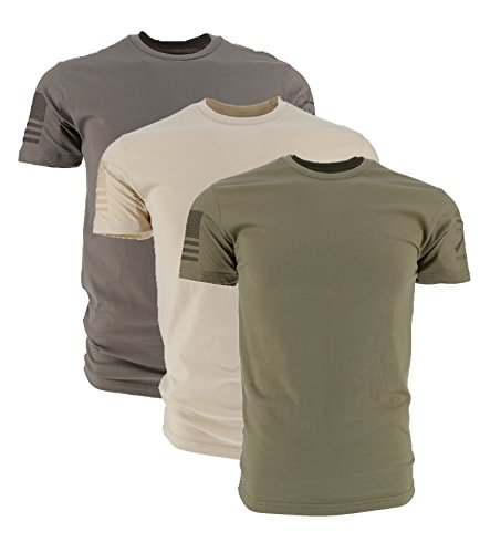 Grunt Style Ghost Basic Crew Men's T-Shirt (3-Pack: Cream/Warm Grey/Od Green, Large)