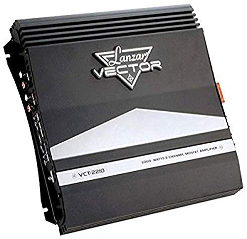 2-Channel High Power MOSFET Amplifier - Slim 2000 Watt Bridgeable Mono Stereo 2 Channel Car Audio Amplifier w/ Crossover Frequency and Bass Boost Control, RCA input and Line Output - Lanzar VCT2210 , Black