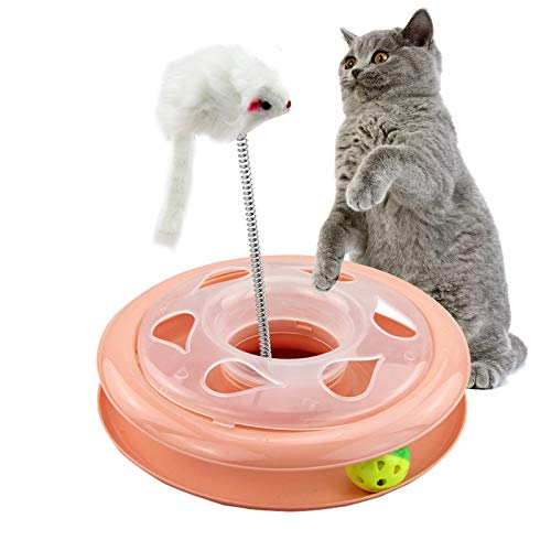 ASENVER Cat Track Toys Interactive Cat Toys Kitty Amusement Plate Kitten Fun Exercise Set with a Mouse and Moving Ball (Pink)