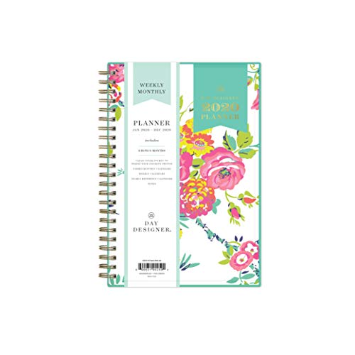 Day Designer for Blue Sky 2020 Weekly & Monthly Planner, Flexible Cover, Twin-Wire Binding, 5' x 8', Peyton White (103619-20)