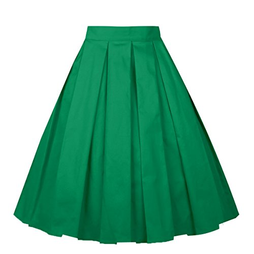 Girstunm Women's Pleated Vintage Skirt Floral Print A-line Midi Skirts with Pockets Green M