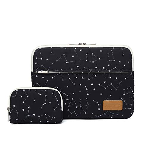 Canvaslife Black Star Pattern 360 Degree Protective 13 inch Canvas Laptop Sleeve with Pocket 13 Inch 13.3 Inch Laptop Case