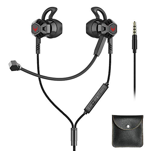 Langsdom Gaming Earbuds with Dual Microphone, in-Ear Headphones with Noise Cancellation, 3.5MM Jack Wired Earphone Compatible use for iPhone/Android/PC, Xbox One Switch PSP(Black)