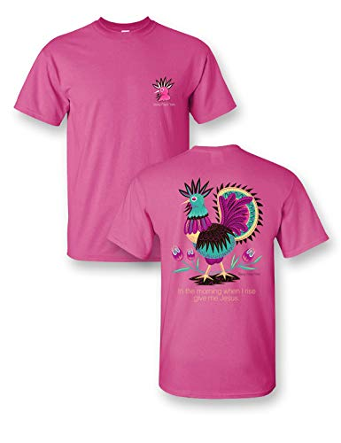 in The Morning When I Rise Give Me Jesus Neon Pink Comfort Color Short Sleeve T-Shirt (XXXLarge)