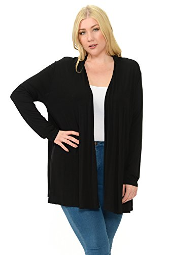 Pastel by Vivienne Women's Long Sleeve Jersey Plus Size Cardigan XX-Large Black