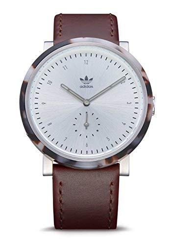 Adidas Watches District_AL3. Dark Brown Leather, 20mm Band Width (Seasmoke Tortoise/Silver/Brown, 40mm Case)