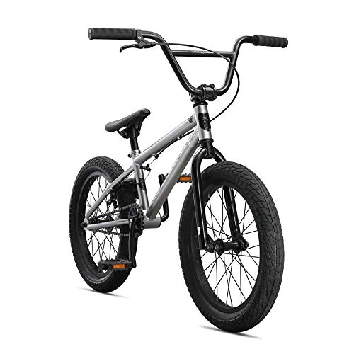Mongoose Legion L18 Freestyle Sidewalk BMX Bike for Kids, Children and Beginner-Level to Advanced Riders, 18-inch Wheels, Hi-Ten Steel Frame, Micro Drive 25x9T BMX Gearing, Silver