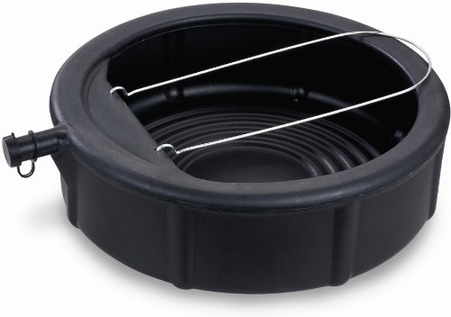 Lumax LX-1629 Black 5 Gallon Plastic Oil Drain Pan with Wire Loop Handle. 5 Gal. / 20 Qt. (19 L) Capacity with Spill Proof Cap. Impervious to Oil, Gasoline, Anti-Freeze, etc.
