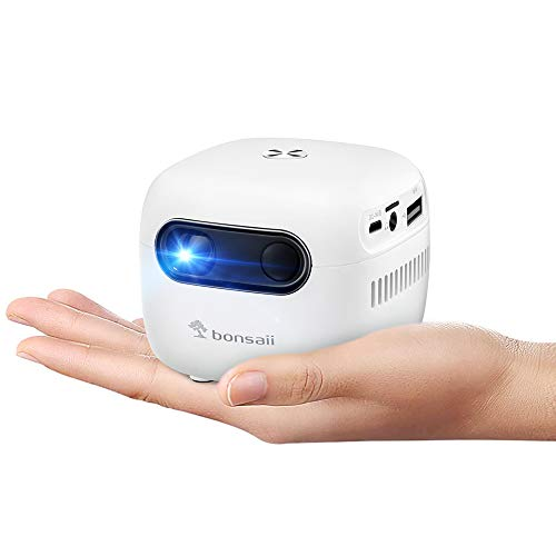 Smart Mini Projector with Bluetooth & WiFi, Rechargeable DLP Wireless Video Projector with Android 7.1 for Home Theater, Portable Phone Projector for Kids Pocket Cinema with 3-Hour Battery, 120'
